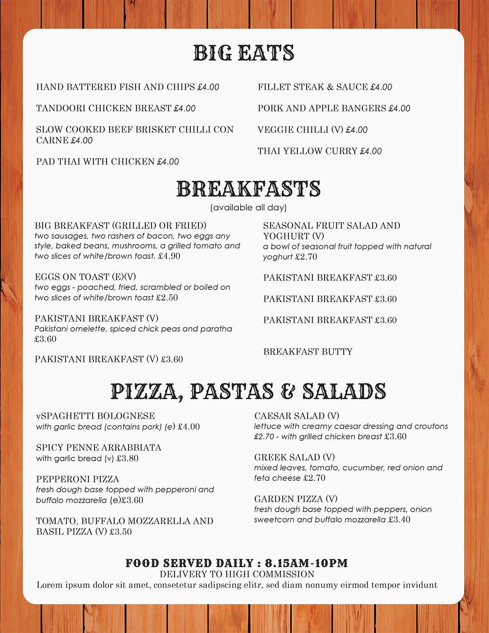 restaurant menu template microsoft word