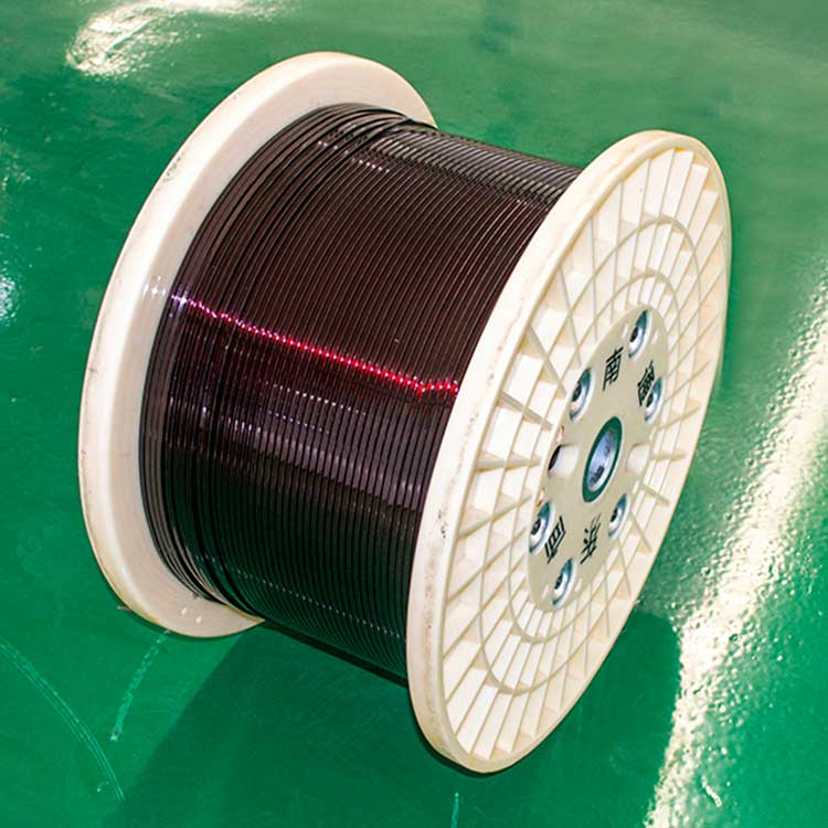 Enamelled flat aluminum wire