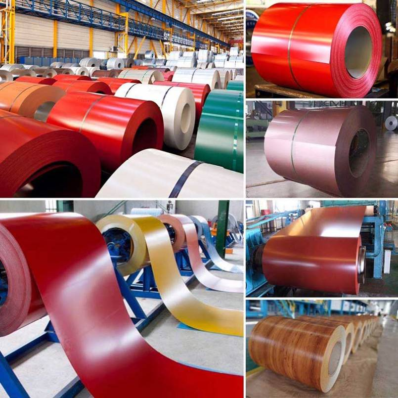 PPGI & PPGL sheet coil (prepainted galvanized steel & prepainted galvalume steel) also known as pre-coated steel or color coated steel coil, It is a product made of hot-dip galvanized steel sheet, hot-dip galvalume steel sheet, electro galvanized steel sheet, etc. After surface pretreatment, one or several layers of organic coating are applied on the surface, and then baked and solidified. The color coated steel coil is light in weight, beautiful in appearance, and has good anti-corrosion performance, and can be directly processed. The color is generally divided into gray, sea blue, brick red, etc. It is mainly used in advertising, construction, decoration, home appliances, electrical appliances, Furniture industry and transportation industry. The coatings used for color coated steel coils are based on the environment in which the resin is selected, such as polyester silicon modified polyester, polyvinyl chloride plastisol, polyvinylidene chloride, and the like.
