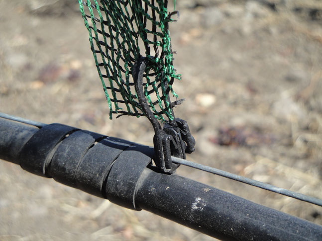 Shade Cloth Attached to Drip Wire With Driplok Clip