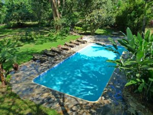 Swimming pool at in a lush garden at Rivertrees Country Inn
