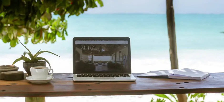 Remote working on the beach of Zanzibar in Tanzania
