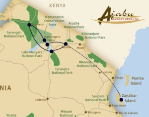 Kaart route Ajabu Adventures Safari Special - november 2017