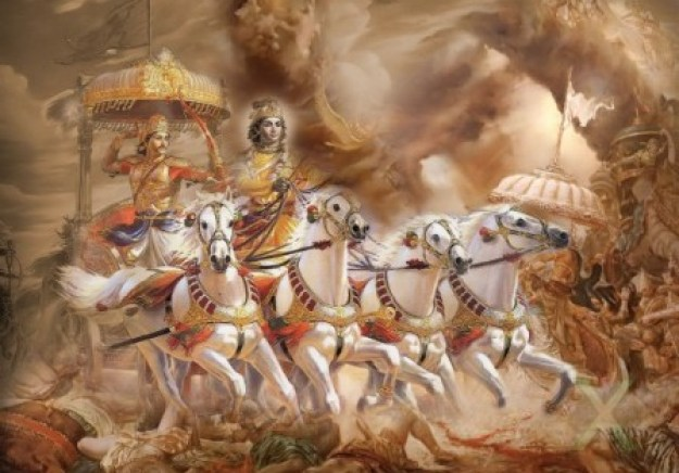 Arjuna yang gagah berani, duduk dalam Weimana