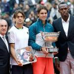 Usain Bolt and Rafael Nadal at French Open Tennis
