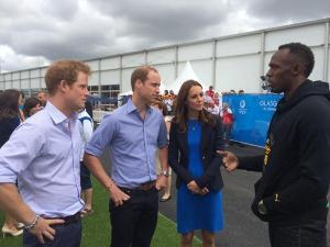 Usain Bolt, Prince Harry and Duke and Dutchess of Cambridge