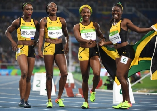 Jamaica's Veronica Campbell-Brown, Jamaica's Elaine Thompson, Jamaica's Shelly-Ann Fraser-Pryce and Jamaica's Christania Williams