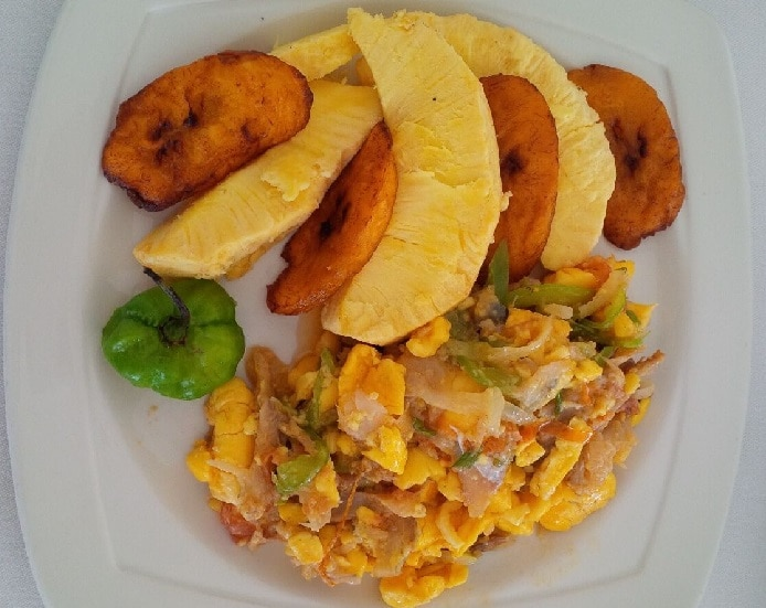 Ackee and Saltfish with plantains