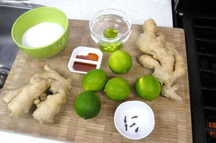 ginger, lime, sugar, water, and spice