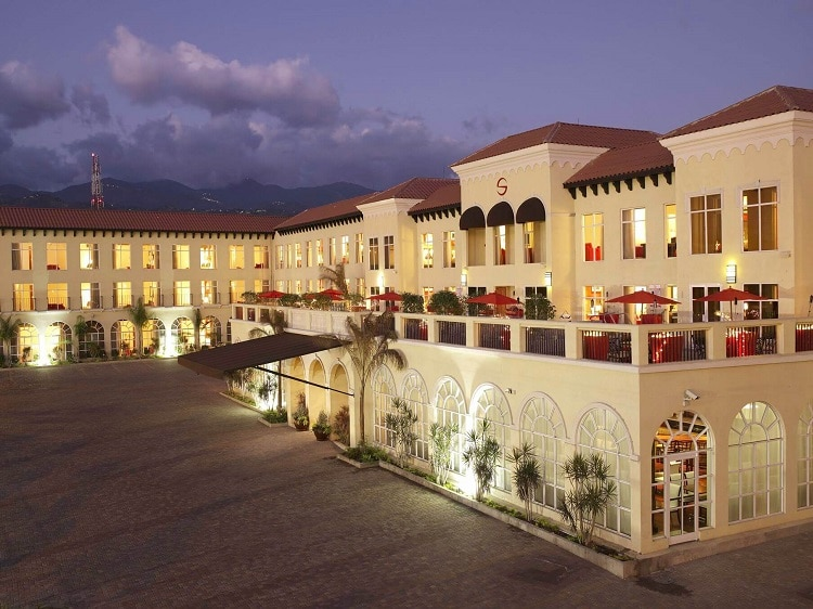 exterior of the Spanish Court Hotel, one of the best hotels in Kingston Jamaica