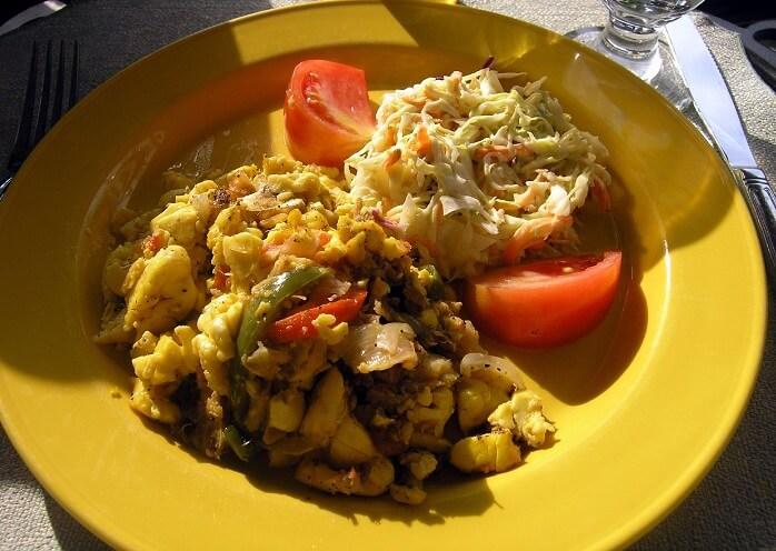 ackee and saltfish, Jamaica's national dish