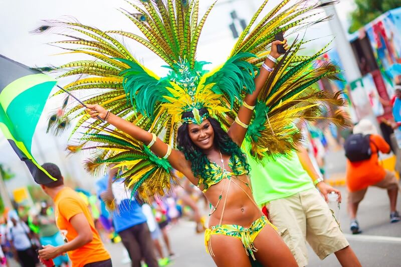 Woman costumed for Bacchanal