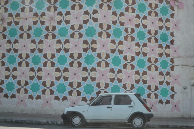 geometric patterns decorating a wall in Mashhad