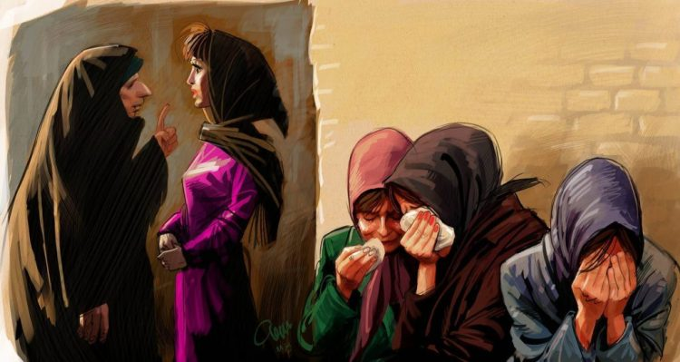 An artist's rendition of the Guidance Patrol's imposition of dress codes on the street. By Bozorgmehr Hosseinipour.
