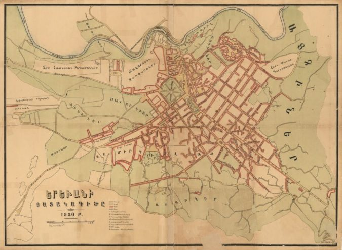Map 1: First official map of Yerevan published in 1920 prior to the implementation of Tamanian's radial plan.