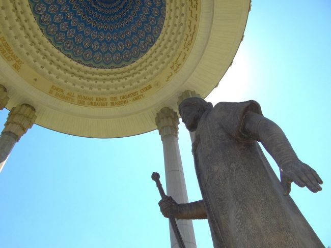 the statue of Ali Shir Nava'i in Tashkent's eponymous national park. Photo Credit: Adam Jones