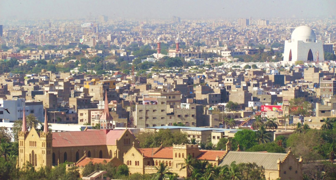 Photograph of Karachi from above, depicting St Patrick Cathedral as well as the Mausoleum of Muhammad Ali Jinnah. Photo: Bilal Hassan
