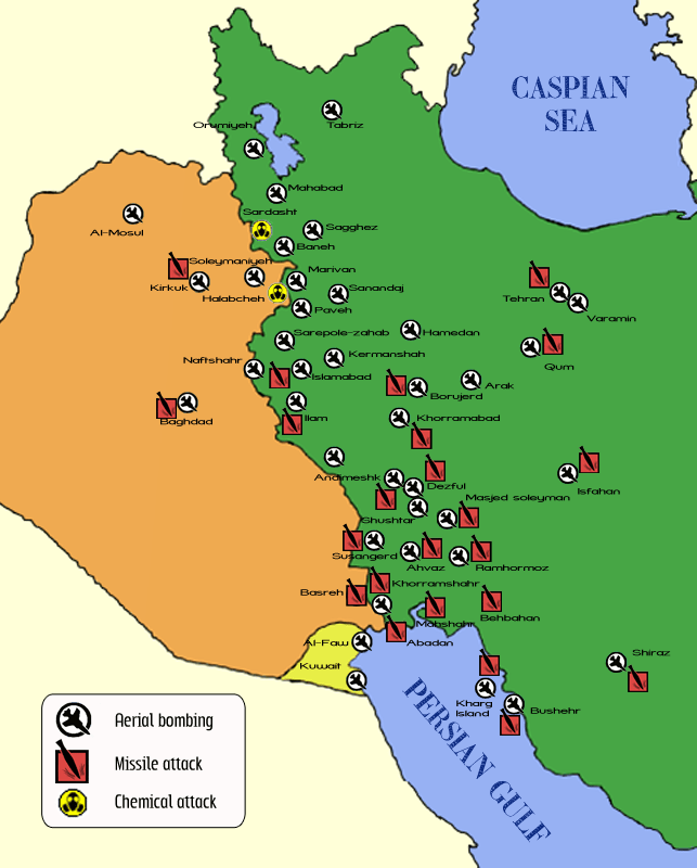 Map of the Iran-Iraq War attacks