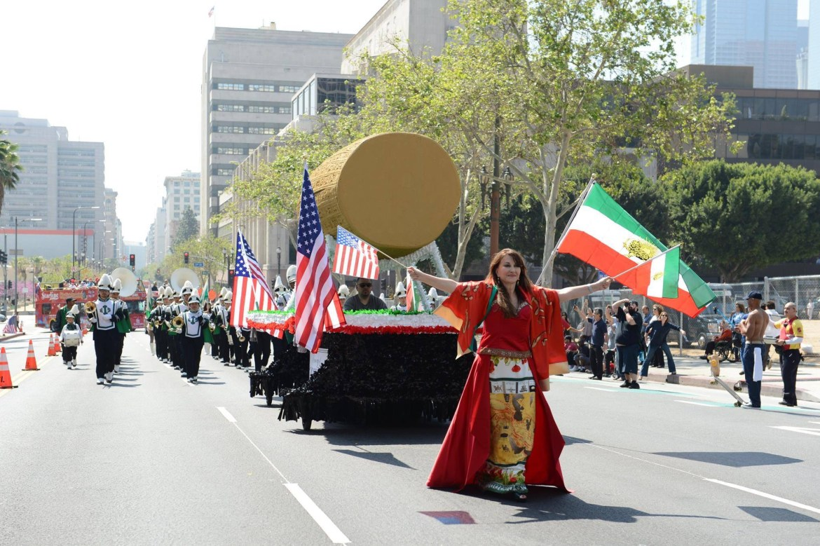 The Los Angeles Persian Parade, 2014, with a gigantic Cyrus Cylinder in tow. Photo: LAPP Facebook