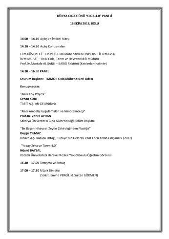 Panel Programı - Dünya Gıda Günü Etkinliği (Gıda 4.0) Paneli