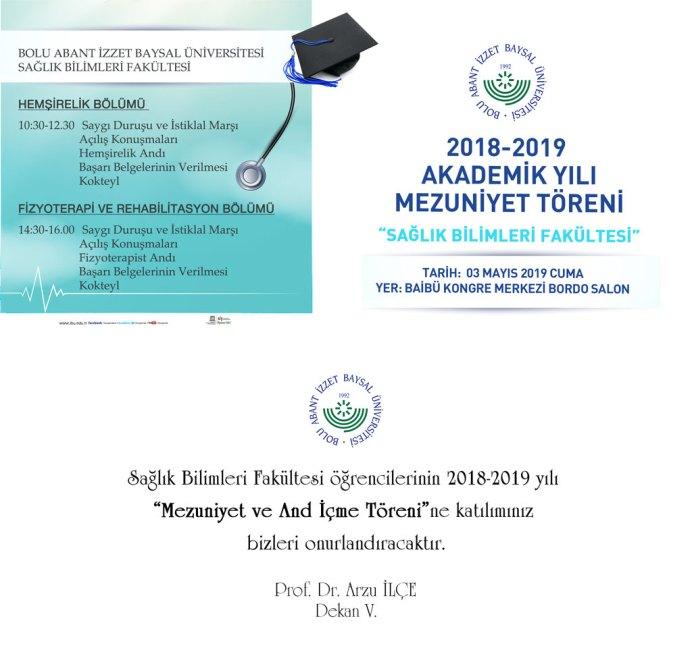 saglk 1 - BAİBÜ 2018-2019 Sağlık Bilimleri Fakültesi Mezuniyet Programı