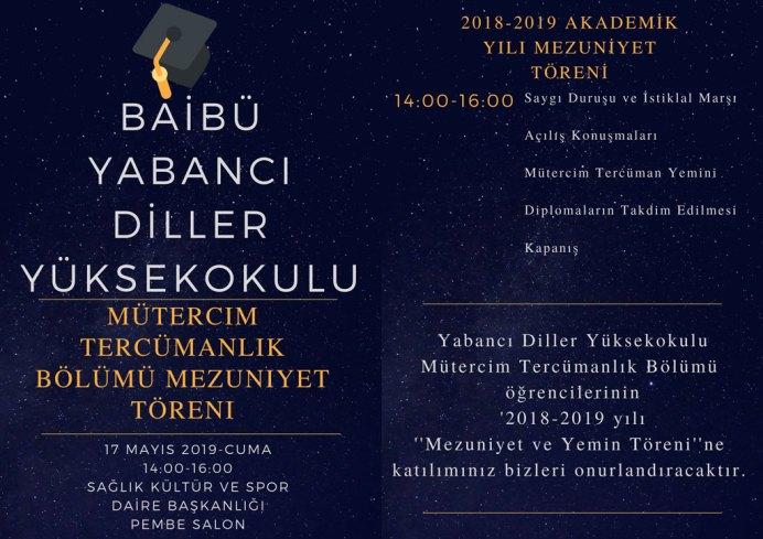 Tören Davetiye - BAİBÜ 2018-2019 Yabancı Diller Yüksekokulu Mütercim Tercümanlık Bölümü Mezuniyet Programı