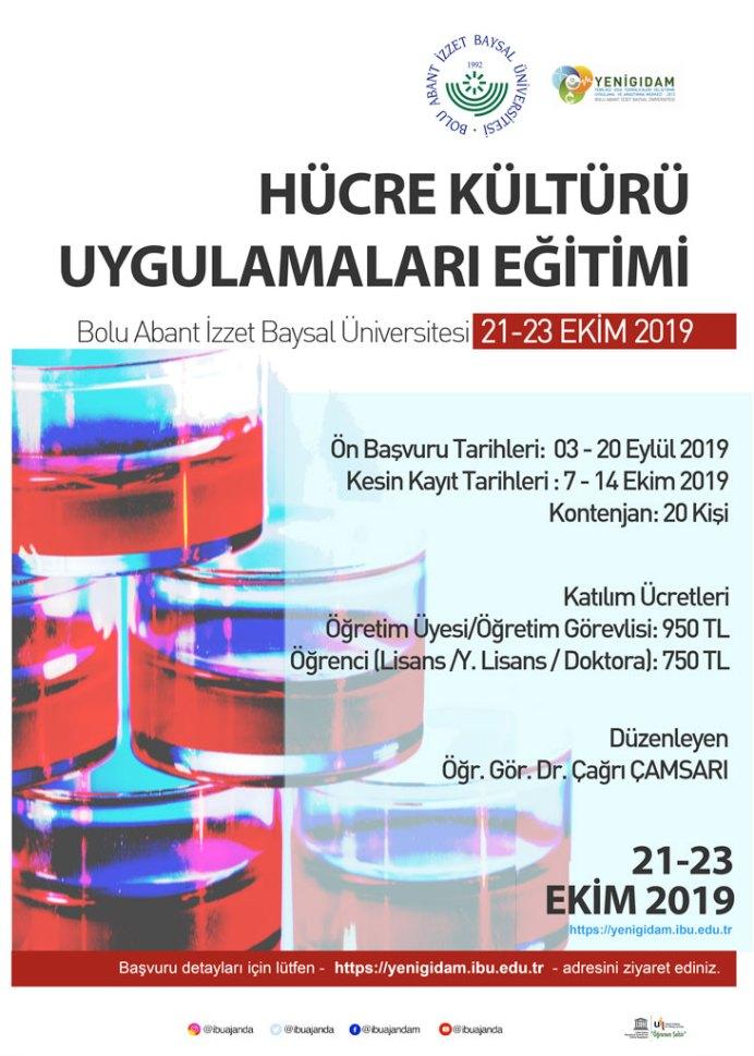 hücre kulturu afis - Hücre Kültürü Uygulamaları Eğitimi (21- 23 EKİM 2019)
