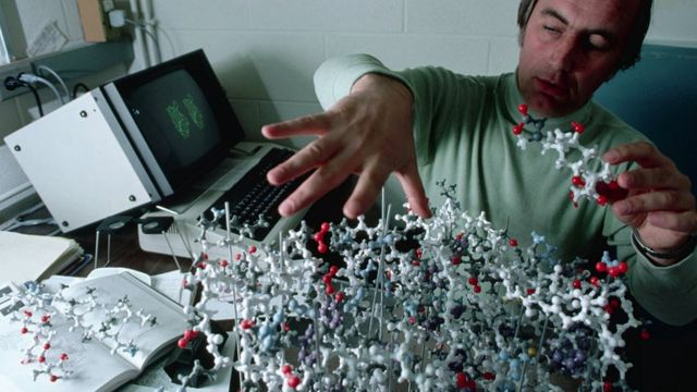 A scientist with a model for a monoclonal antibody