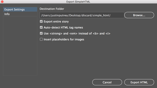 SimpleHTML user interface