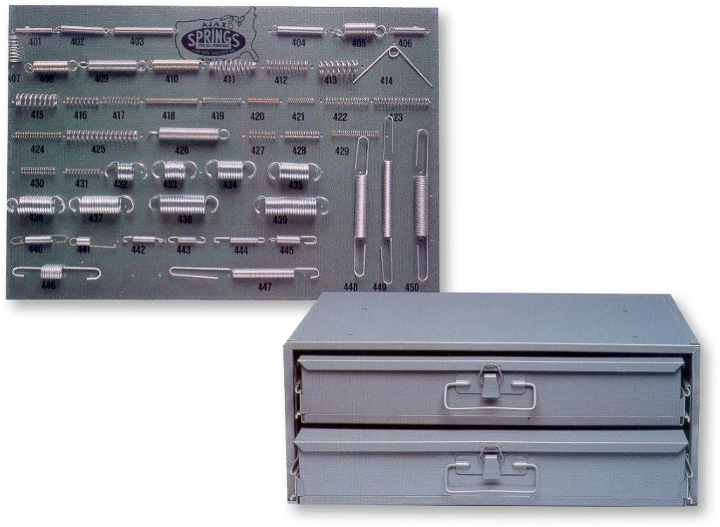 400 piece spring assortment with board & cabinet