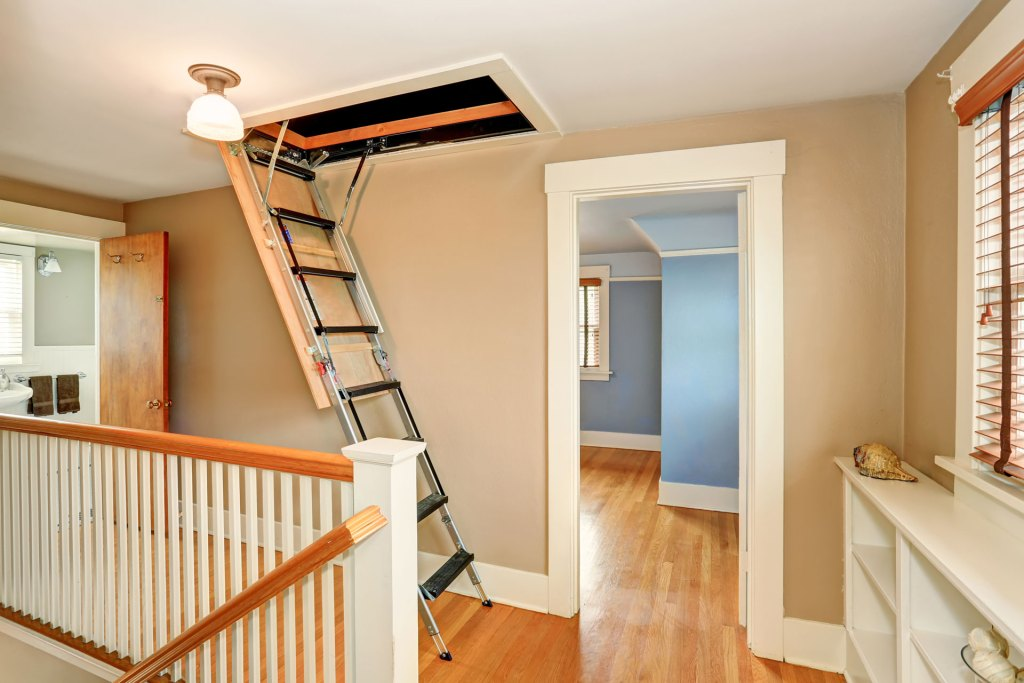 Attic stair spring in home installation