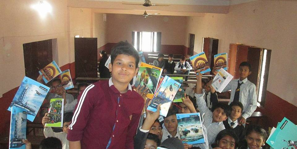 Ravi Pandey , with students after distribution of education material in bhairahawa