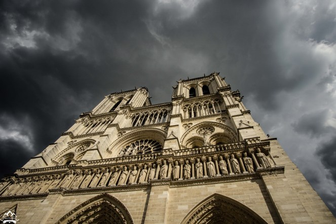 """When the winds blow in Paris, it can change the weather in a """"Seattle-minute."""" We watched the skies over Notre-Dame go from blue sky, to stormy in just about 5 minutes. Makes for some dramatic light changes."""