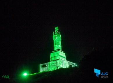 Downpatrick, St Patrick Statue Uplit