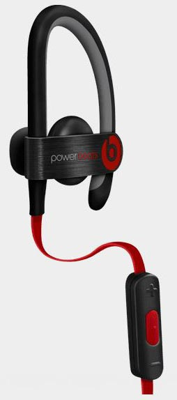 The left earbud, with the attached inline controller, of the Powerbeats2. The microphone is also in the inline controller