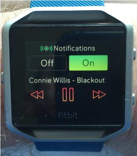I often listen to books on my phone, and find the ability to control my Audible app from my wrist to be really, really useful. This is the Fitbit Blaze. You access this audio control screen by pressing the button on the top right twice. Fitbit Blaze review