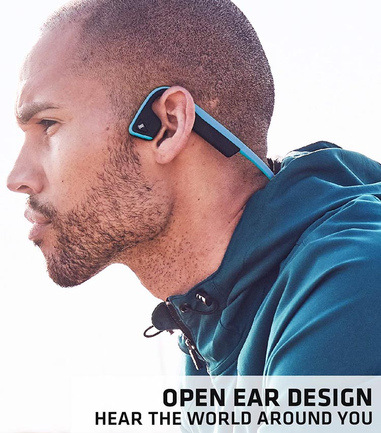 Safest Headphones for runners. No. 1: AfterShokz TREKZ Titanium Open-ear Bluetooth Headphones