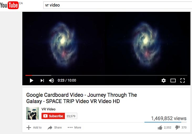 You can go to YouTube and search for videos to watch on your VR headset. I really liked this video, which is a relaxing meander across the universe, with great sound. However, note that it is 3D, not immersive 360 degrees. It was also a little disconcerting that I was getting really relaxed, floating over Mars - and my journey was suddenly interrupted by a short car advert!