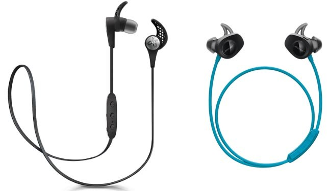 On the left are Jaybirds X3 (also available in several other colors): on the right are Bose Soundsports (also available in black). Which are better for you?