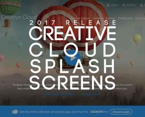 Adobe Creative Cloud 2017 Release Splash Screens Roundup