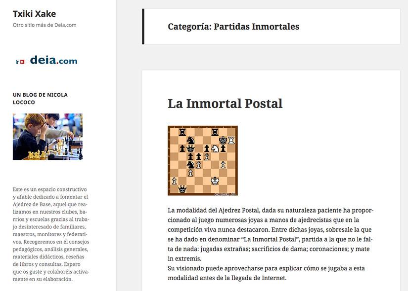 Partidas inmortales en Ajedrez Txiki