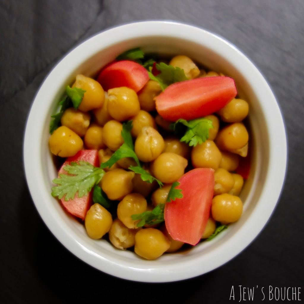 seasoned chickpeas with cilantro and pickled radish-2 AJB-1
