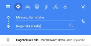 When I typed Hogenakkal falls this was the first option that cropped up on Google maps