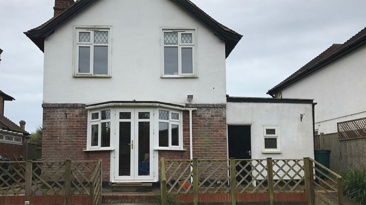 Rear shot of a Bexhill house before a rear home extension was built