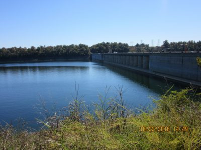 View of Bull Shoals Dam from lake side