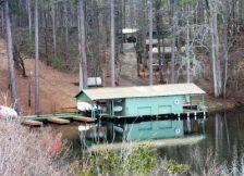 Canoes at camp on lake