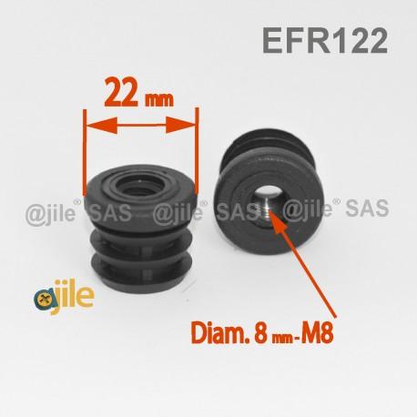 embout plastique rond pour tube de diametre 22 mm avec trou filete diam 8 mm m8