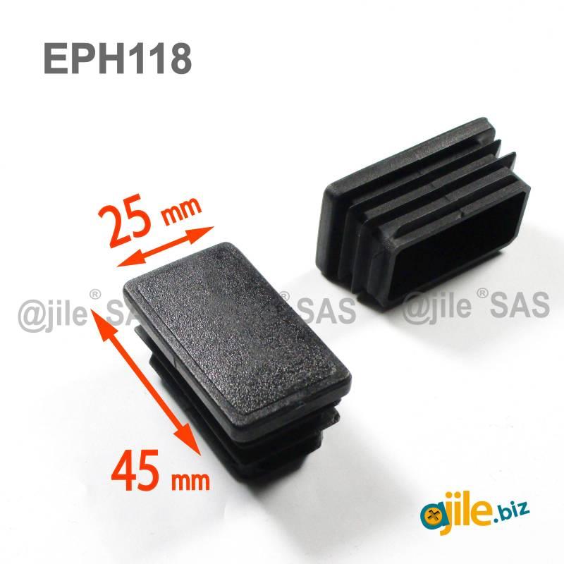 embout rectangulaire noir pour tube de dimension 45x25 mm et d epaisseur 1 0 2 5 mm
