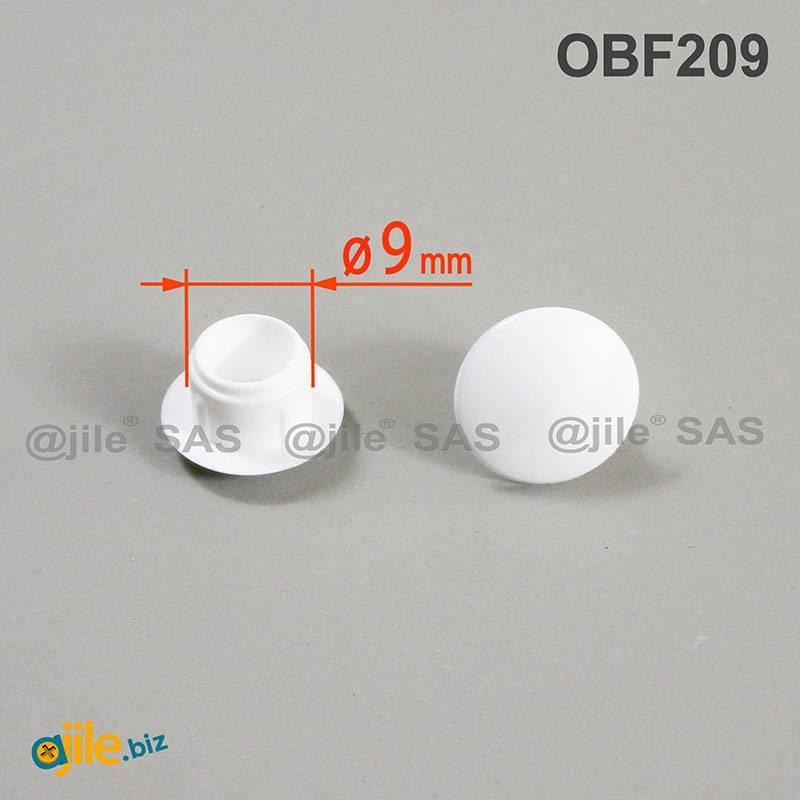 bouchon capuchon obturateur plastique rond blanc pour trou alesage diametre 9 mm
