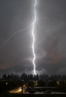 Lightning Strike, Olympia WA, 4May2018, Photo by Allan J Jones